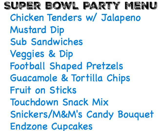 Menu for Super Bowl Party