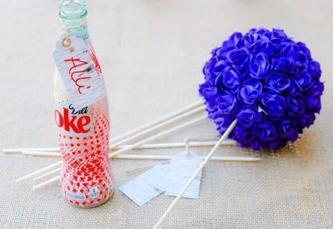 Centerpieces made with Diet Coke Bottles