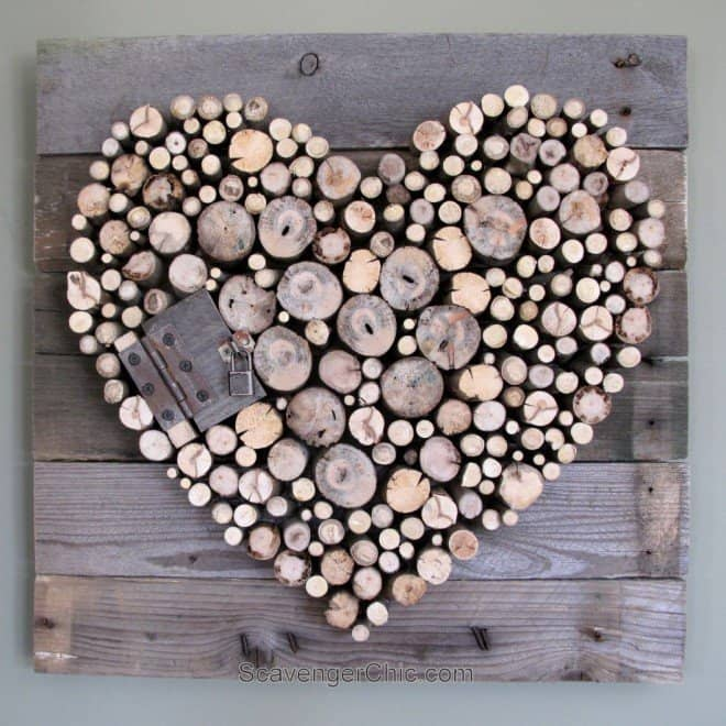 DIY Sunday Showcase - Pallet Wood & Stick Valentine's Day Heart