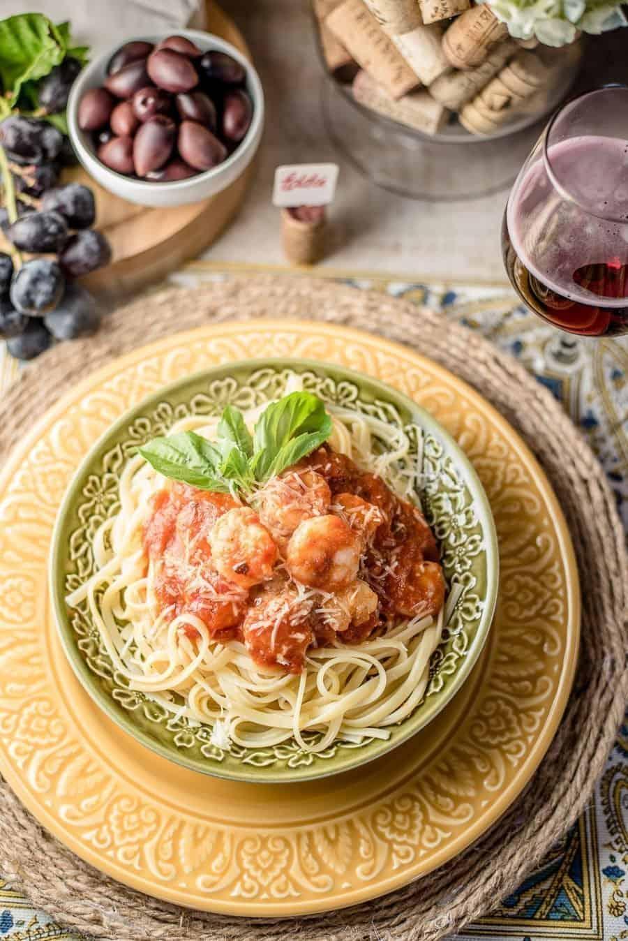 Linguine Aglio e Olio with Shrimp and Artichoke Hearts - An Alli Event