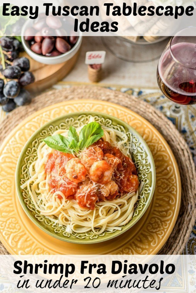I've got an easy, DIY Tuscan Tablescape & Shrimp Fra Diavolo in under 20 minutes. This is the perfect romantic dinner for two!