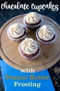 Chocolate Cupcakes with Peanut Butter Frosting is my go-to cupcake recipe! Delish!