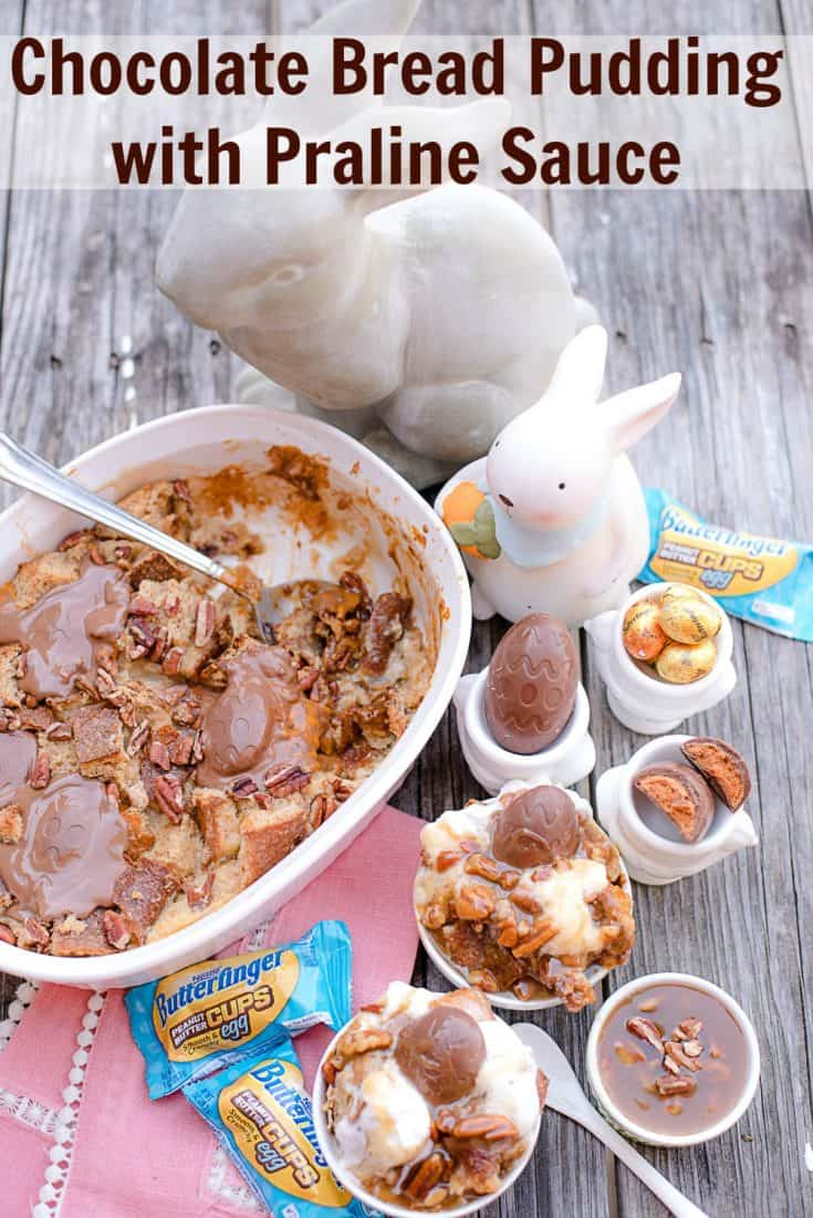 Bread Pudding topped with BUTTERFINGER® Cup Eggs and drizzled with homemade praline sauce
