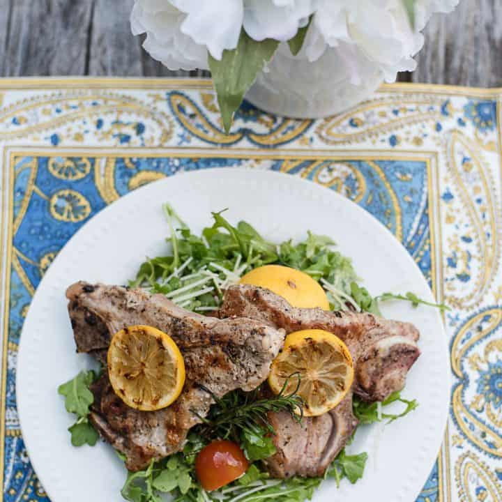 Pan Grilled Rosemary Veal Chops with Arugula Salad - The Perfect Spring Dinner