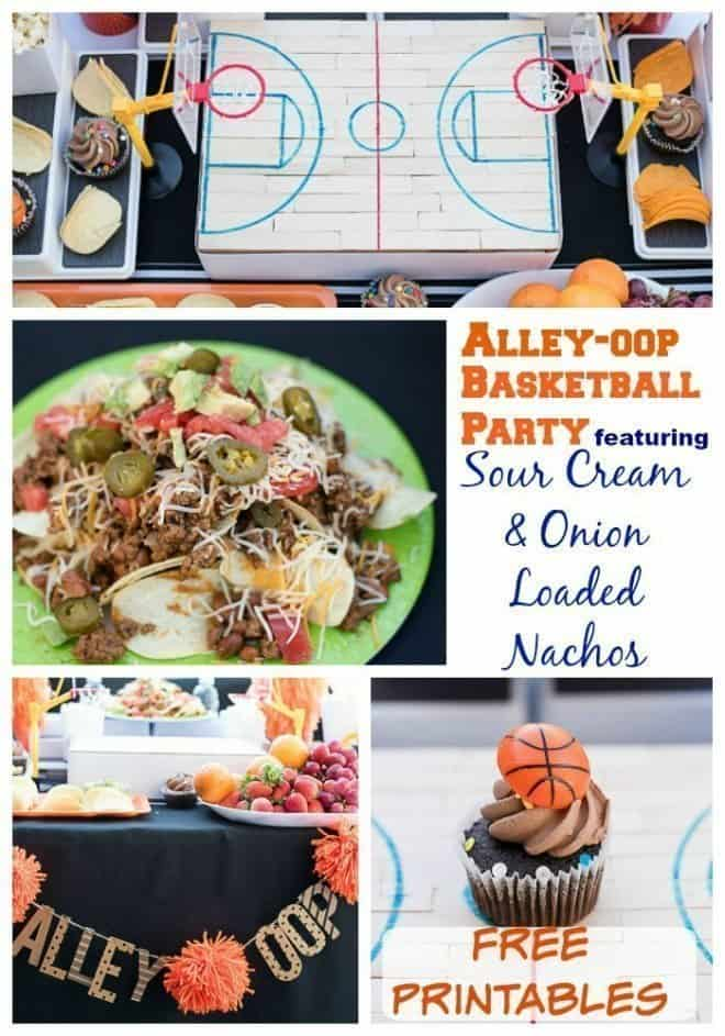 Sour Cream and Onion Loaded Nachos Basketball Party