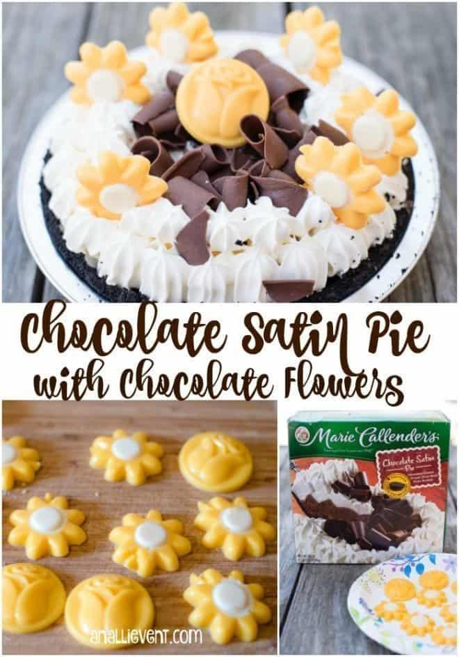 Chocolate Satin Pie with Chocolate Flowers