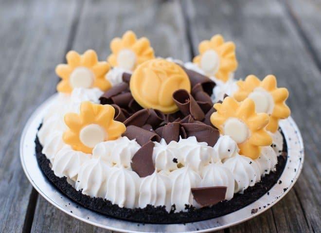 Chocolate Satin Pie with Chocolate Flowers and Chocolate Curls