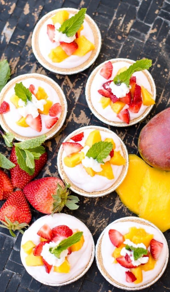 Mango and Strawberry Cheesecake Mini Pies