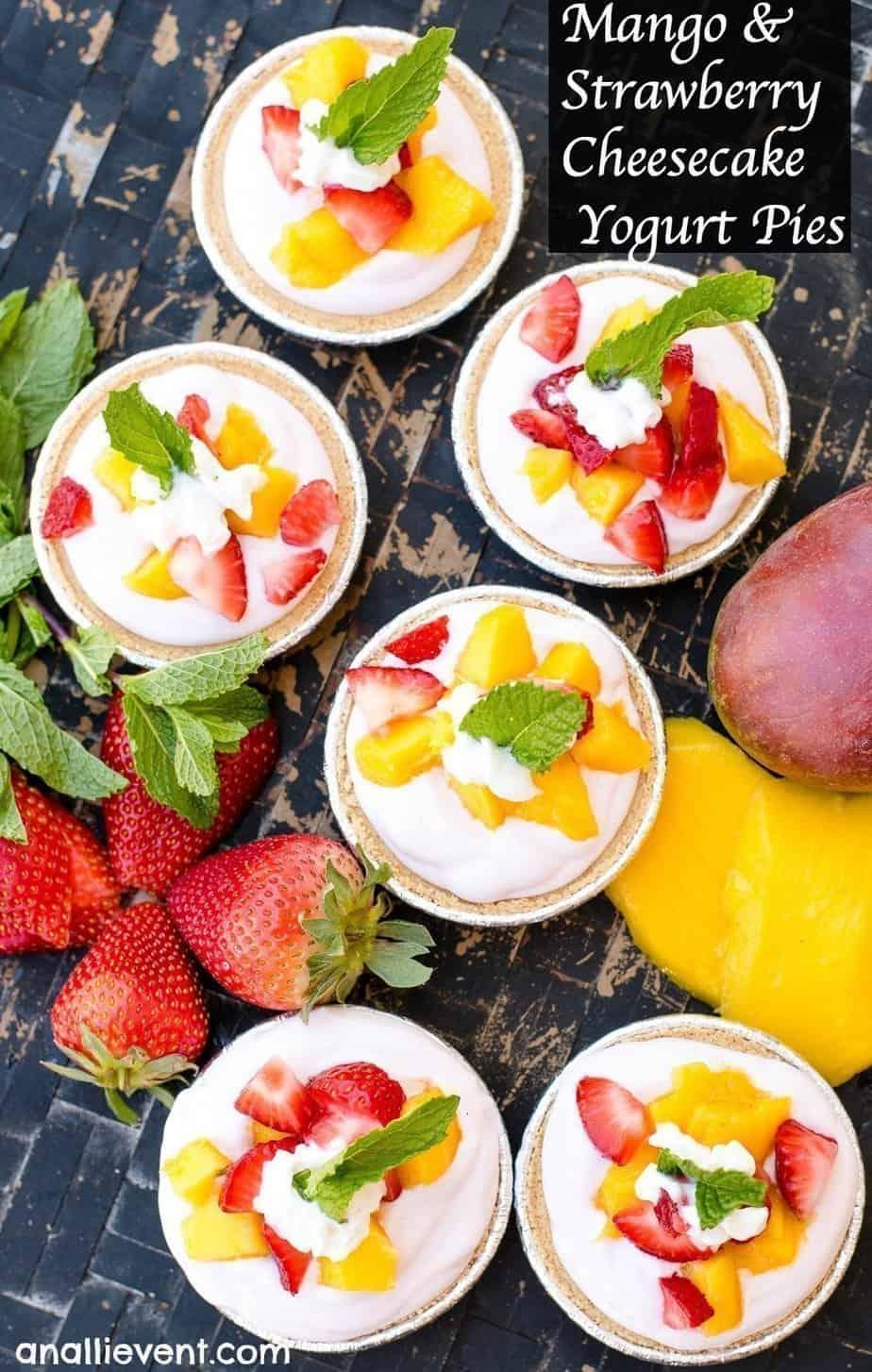 Mango and Strawberry Cheesecake Yogurt Mini Pies