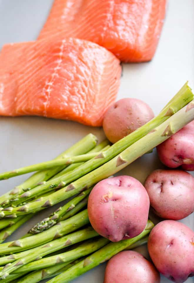 Prepping veggies for one-pan dinner