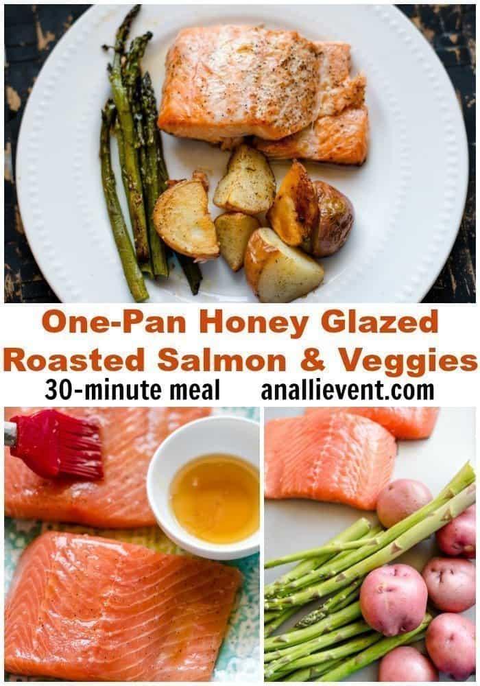 Honey Glazed Roasted Salmon and Veggies