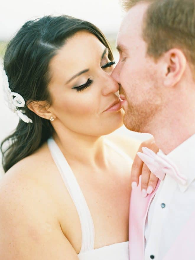 Bride and Groom Kissing - Nautical Wedding