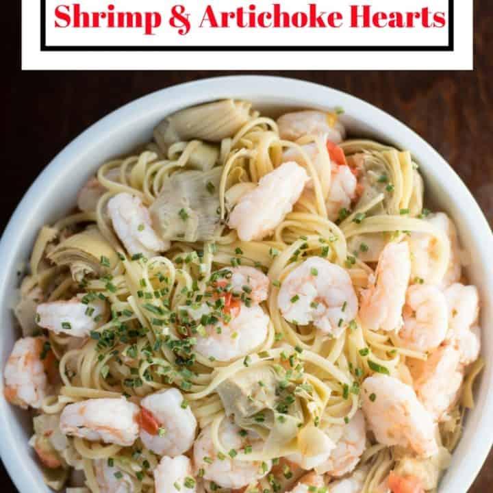 Linguine Aglio e Olio with Shrimp and Artichoke Hearts