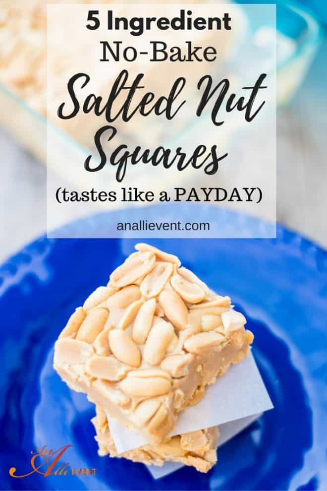 5-Ingredient No-Bake Salted Nut Squares remind me of a PAYDAY candy bar. This is one snack that the family requests over and over. Click the photo to get the recipe or save for later.