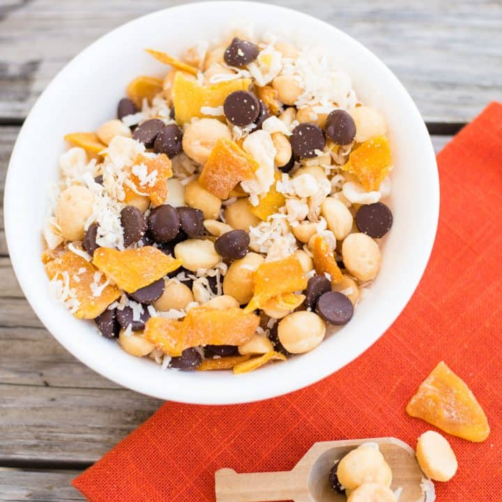 Tropical Macadamia Nut Trail Mix in white bowl