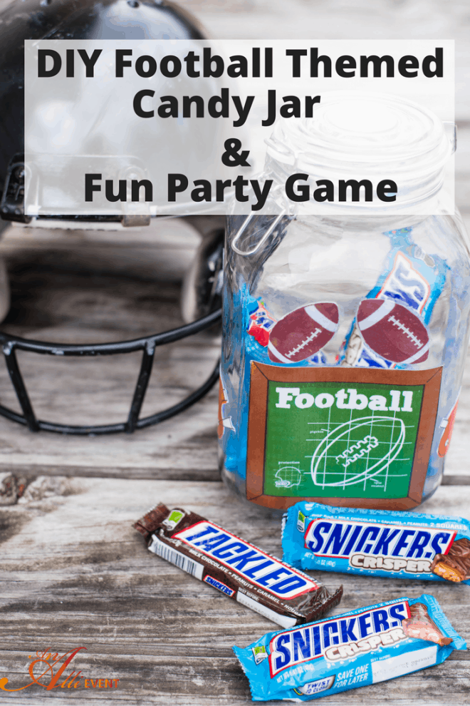 Are you hosting a football party? I've got the perfect game to play while watching your favorite team AND a DIY Candy Jar prize for the winner. Click the photo to see more or save for later.