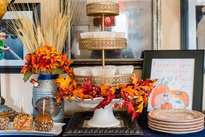 Buffet Table all decked out for fall - Fall Home Tour