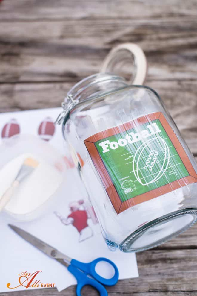 DIY Football Themed Candy Jar