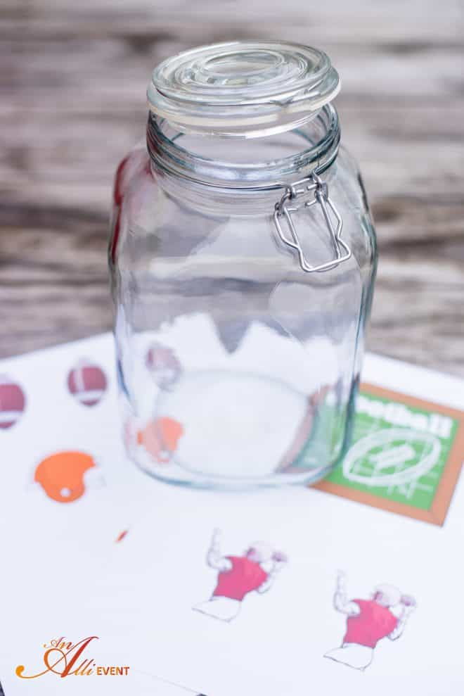 Instructions for making a DIY Football Themed Candy Jar