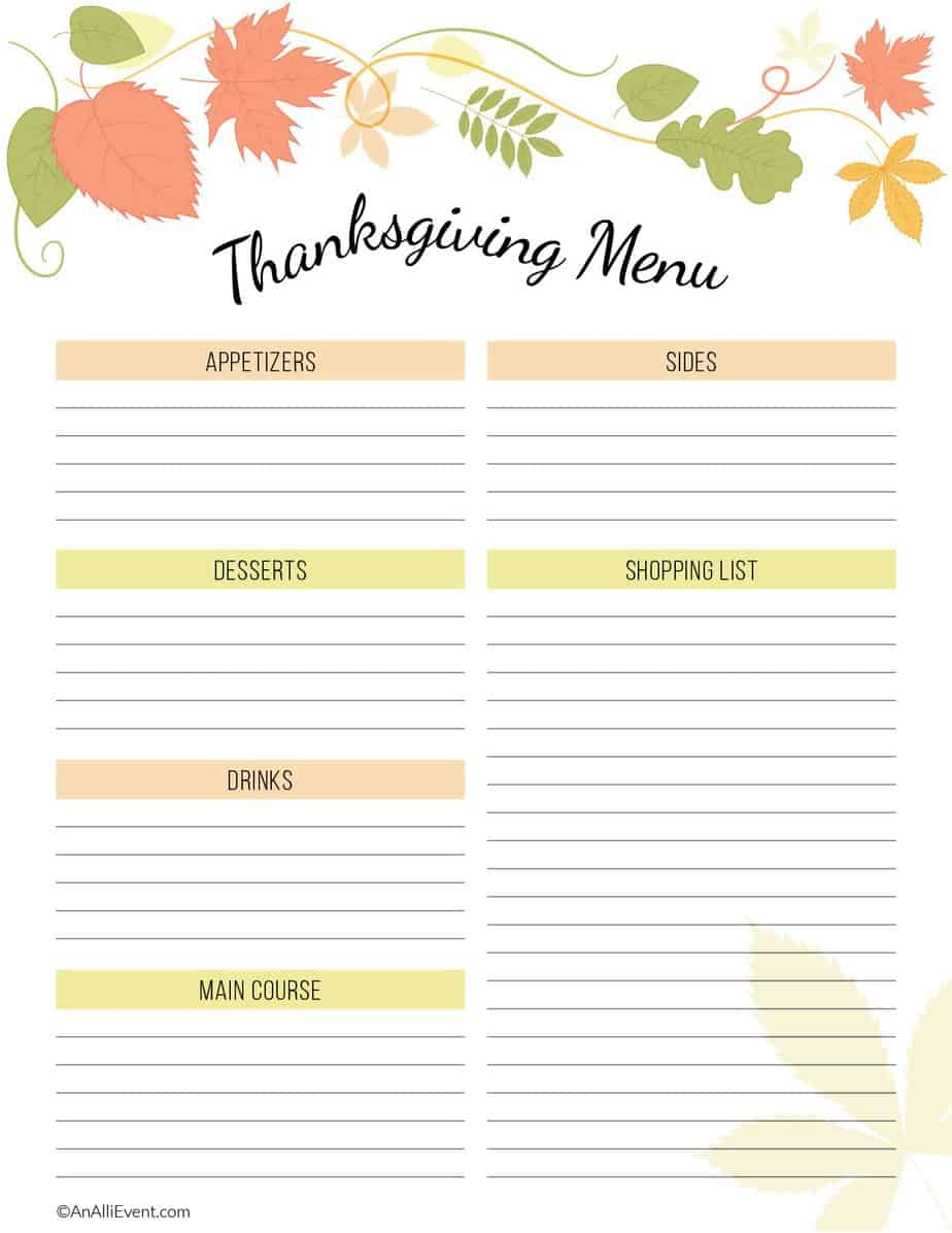 photograph about Printable Thanksgiving Menu known as Absolutely free Thanksgiving Planner Printable - An Alli Celebration