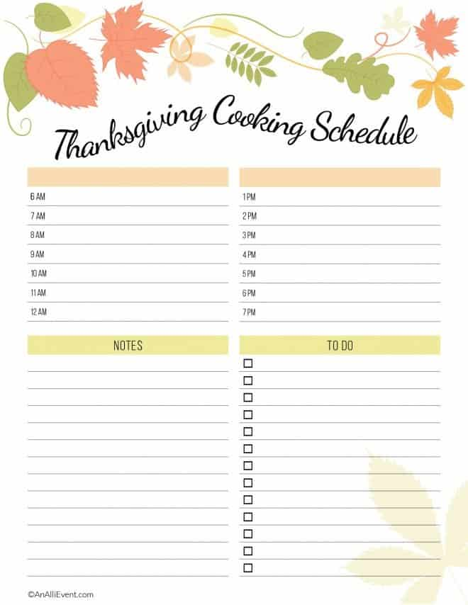 Free-Thanksgiving-Planner-Printable - Cooking Schedule