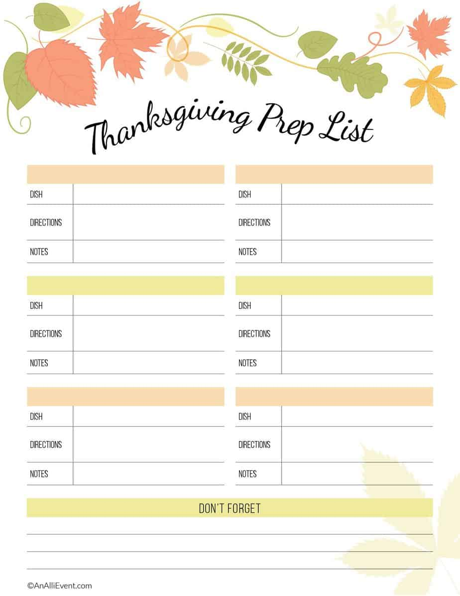 FREE Thanksgiving Planner Printable - An Alli Event