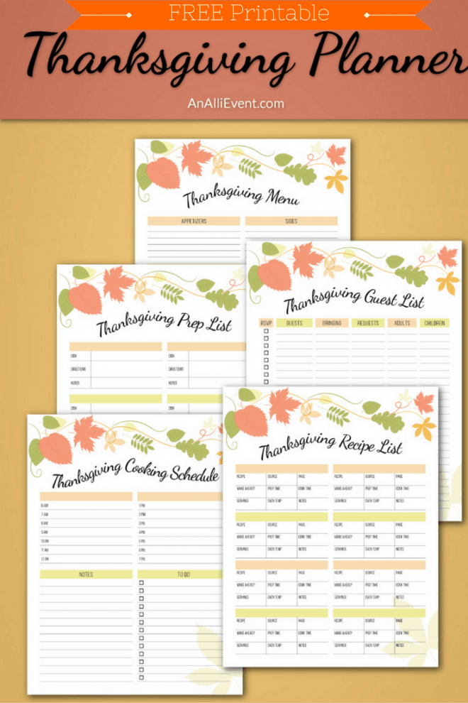 Thanksgiving Planner - Free Printable
