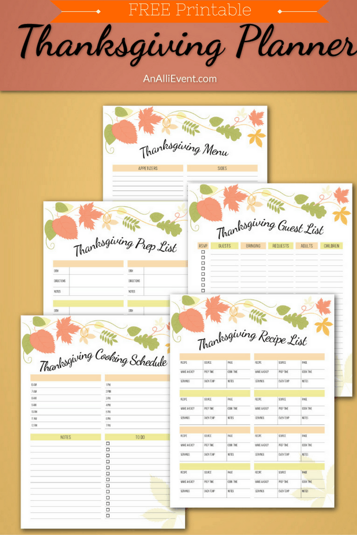 photograph regarding Thanksgiving Menu Planner Printable called No cost Thanksgiving Planner Printable - An Alli Party