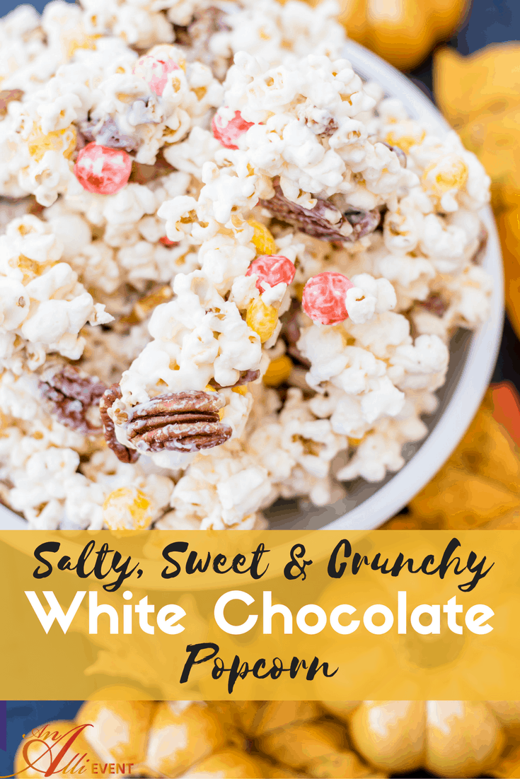 This Sweet, Salty & Crunchy White Chocolate Popcorn is so easy to make and delicious to eat.