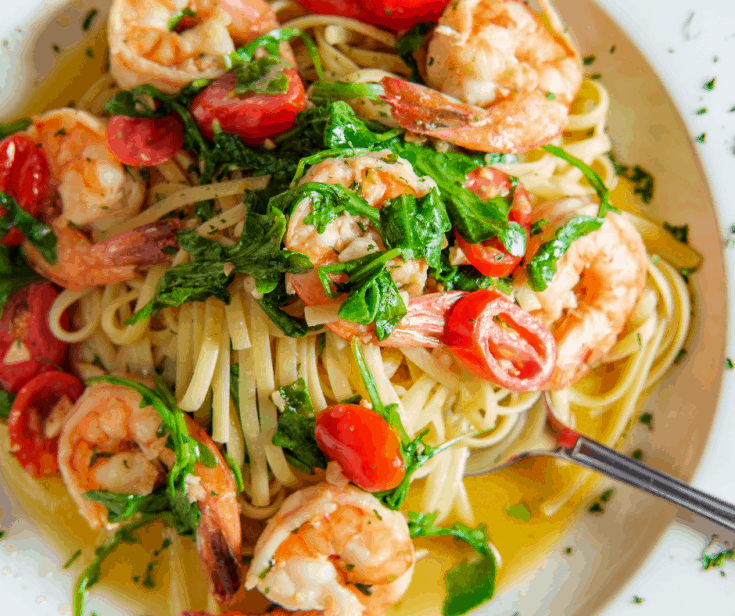 Bowl of Shrimp Linguine With Sauteed garlic and spinach