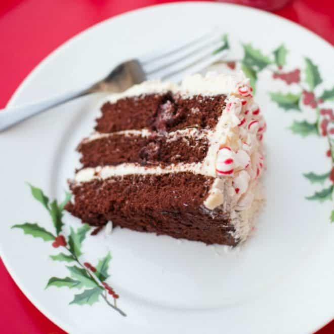 Italian Cream Cake and Homemade Chocolate Cake with Vanilla Frosting and Candy Cane Forest