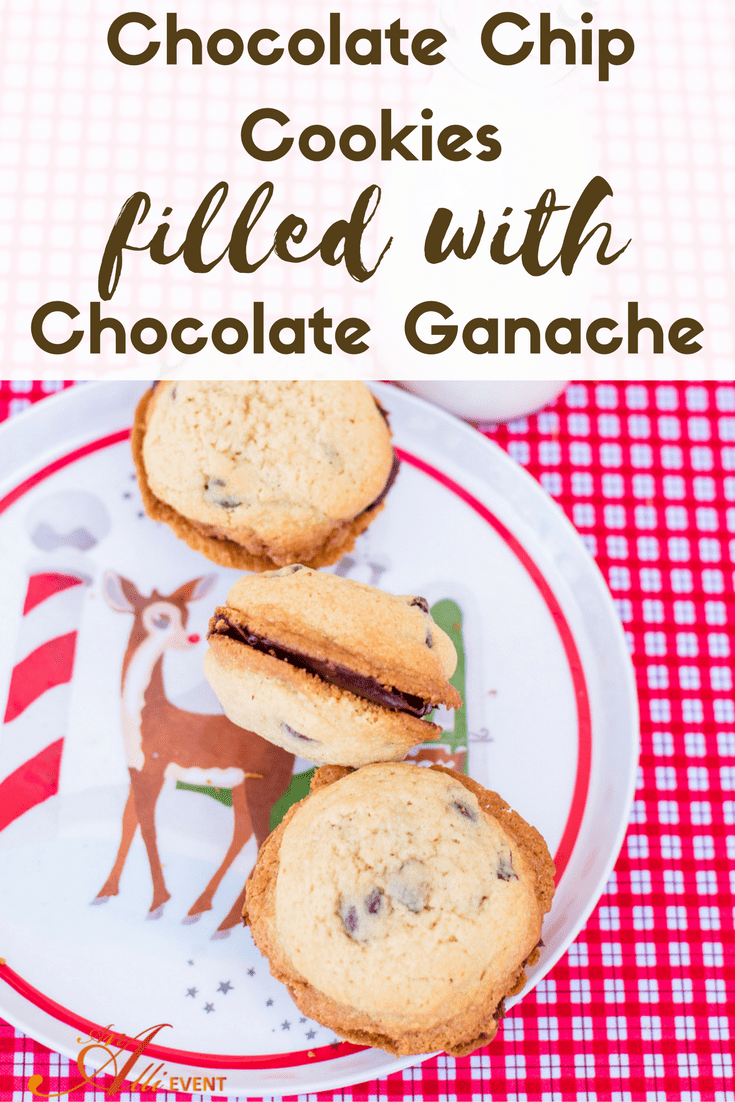 Chocolate Chip Cookies Filled with Chocolate Ganache - An Alli Event