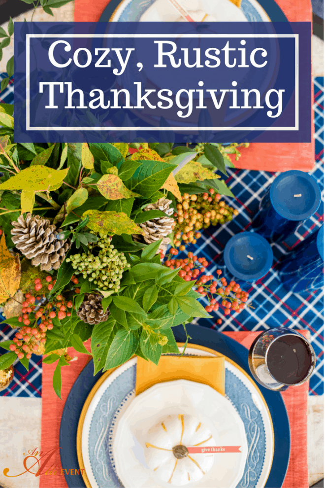 It's easy to set a cozy, rustic Thanksgiving table. I decorated my entire table with things I had on hand. This is truly a no-cost Thanksgiving tablescape. Click the photo to get the full story or save for later.