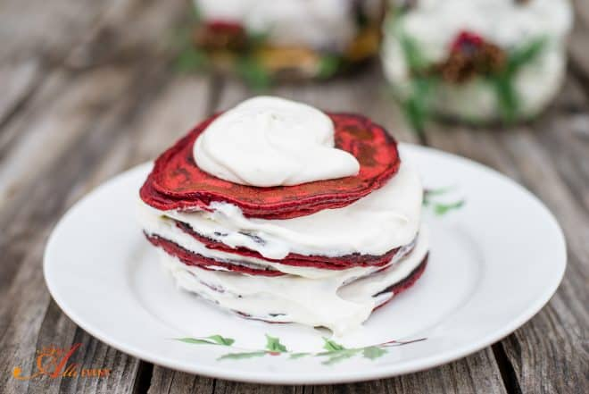 Red Velvet Pancakes and Cream Cheese Syrup