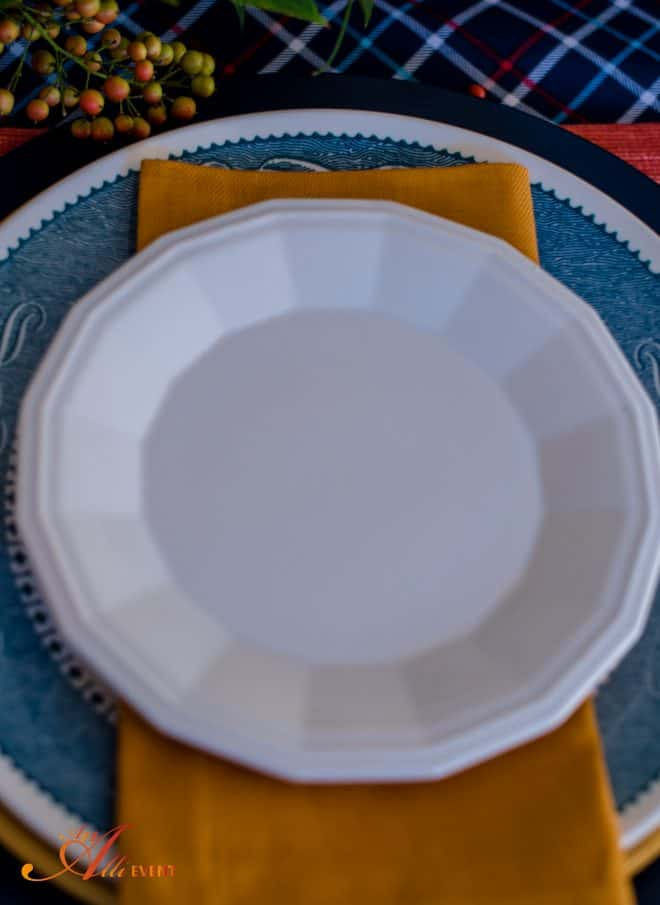 White Dessert Plates - Cozy Rustic Thanksgiving