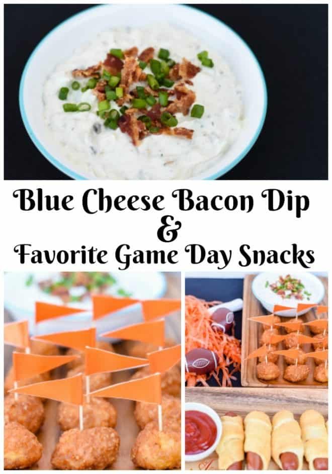 My homegating football party wouldn't be complete without Blue Cheese Bacon Dip. It pairs perfectly with boneless wings. Follow the link to see more of my favorite game day snacks. #FanFoodLeague #ad