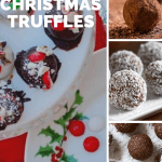 Festive Christmas Balls and Truffles featuring several different kinds of truffles on white plates