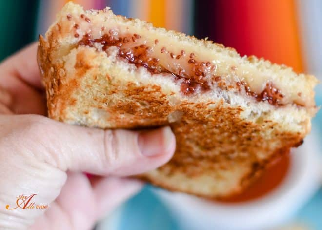 Gourmet Grilled Cheese Sandwich with Strawberry Chai