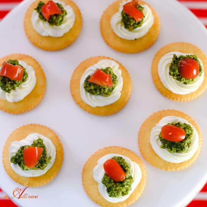 Cilantro Pesto, Cream Cheese and Tomato Topped RITZ Crackers