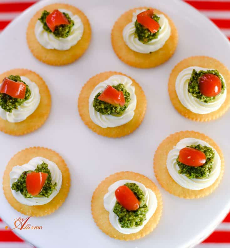 Cilantro Pesto, Cream Cheese and Tomato Topped RITZ Crackers