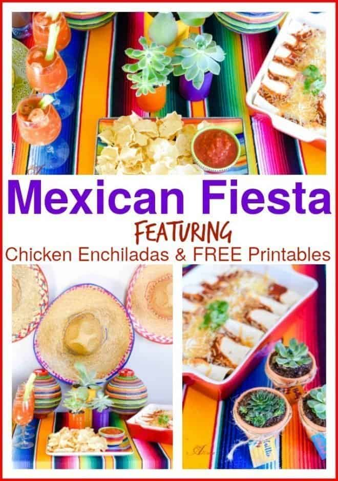 Welcome to a Mexican Fiesta! I've created a colorful tablescape and a fun centerpiece for a Mexican Fiesta. Chicken Enchiladas are the main event and I've added all my favorite Mexican dishes plus free printables. My Mexican Fiesta is a fun, vibrant party that's easy to host.