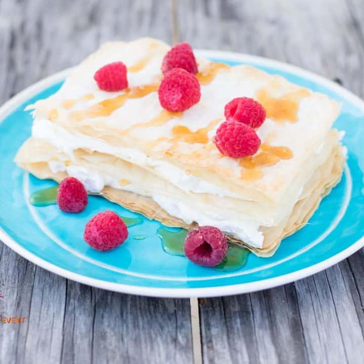 Raspberry Napoleon with Almond Vanilla Sesame Paste