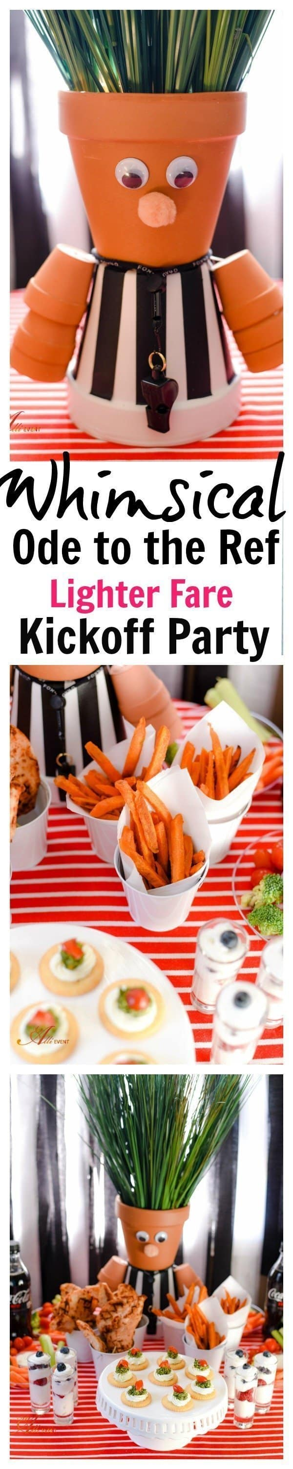 I've put a whimsical spin on my Ode to the Ref Kickoff Party. Plus, I'm serving lighter fare, including homemade cilantro pesto. Shhh - your guest don't have to know. My Ode to the Ref centerpiece is fun to make and your guests will love he whimsical touch.