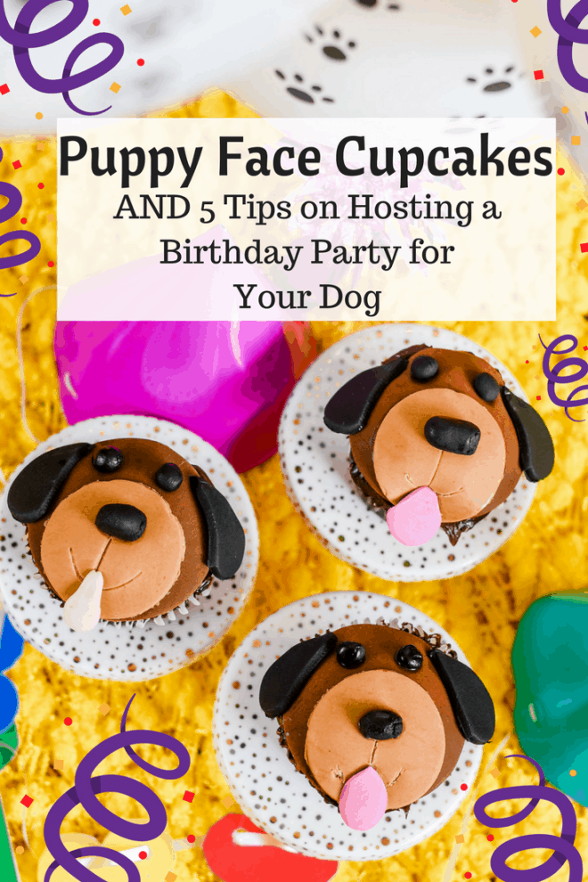 These Puppy Face Cupcakes are perfect for sharing with your human guests at your pooch's birthday party. I've got 5 tips for throwing the perfect birthday party for your dog. My dog, Max, loved his party. Don't forget to grab your FREE printable invites. They're adorable!