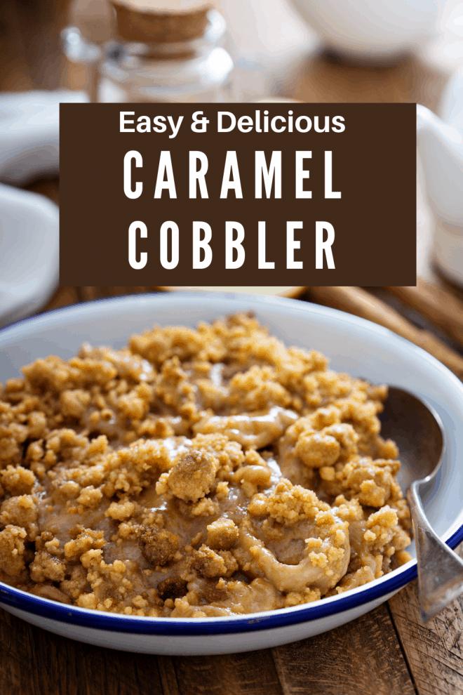 Caramel Cobbler in a white bowl