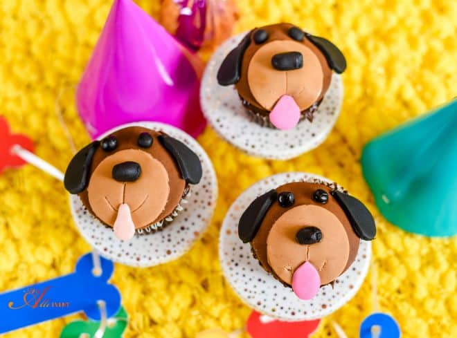 Finished Product - Puppy Face Cupcakes - Surprise Birthday Party