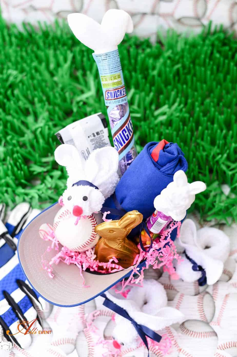 Baseball Themed Easter Basket And Diy Washcloth Bunny An