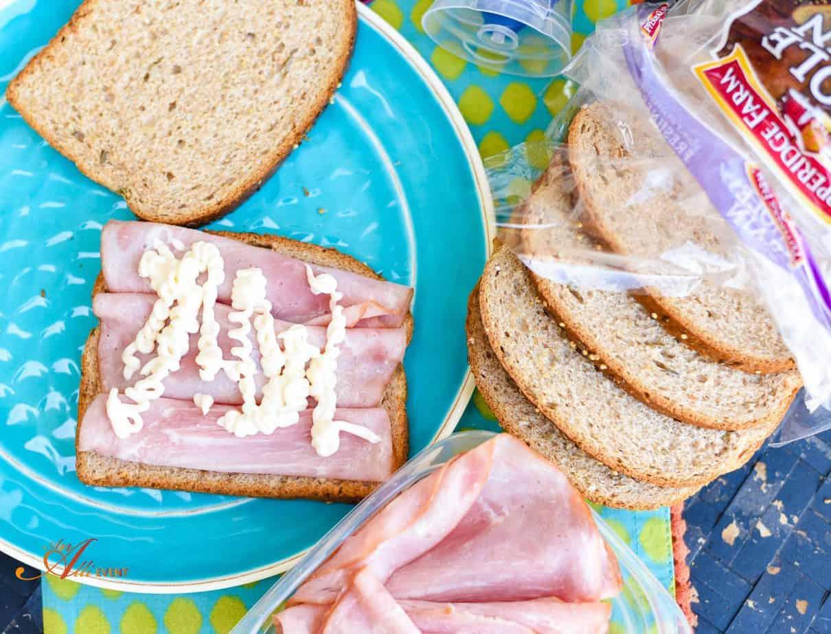 Mediterranean Ham and Veggie Sandwich with Hummus - An Alli Event