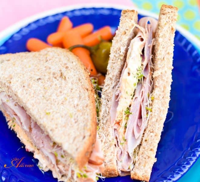 Mediterranean Ham and Veggie Sandwich