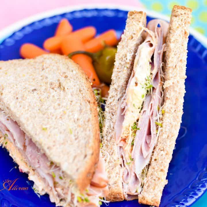 Mediterranean Ham and Veggie Sandwich with Hummus